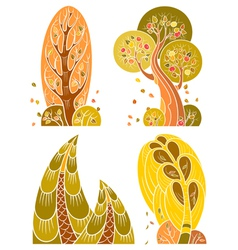 Autumn trees set in retro style vector image vector image
