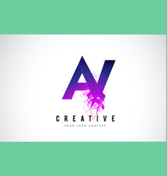 Av a v purple letter logo design with liquid vector
