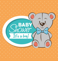 Baby shower boy invitation card vector