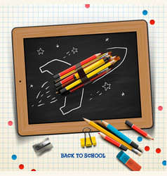 Back to school concept with rocket made from vector