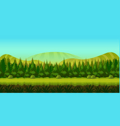 background for you game with green forest on vector image