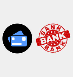 bank cards icon and distress bank watermark vector image