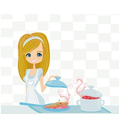 Beautiful lady cooking vector
