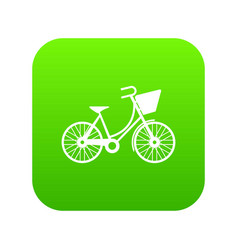 bike with luggage icon digital green vector image