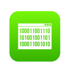 Binary code icon digital green vector