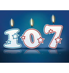 Birthday candle number 107 vector image