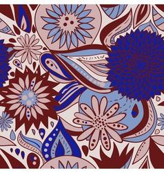 BlueBrownPatternWithFlowersAndOrnaments vector image