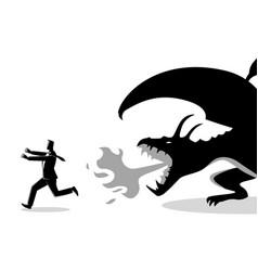 Businessman running away from a dragon vector