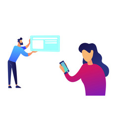 businesswoman with samrtphone and businessman with vector image