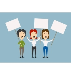 Businesswomen protesting with blank placards vector