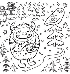 cartoon fluffy bigfoot or yeti loves birds vector image