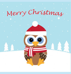christmas card with cute owl vector image