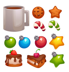 christmas food and decoratin asset for your vector image