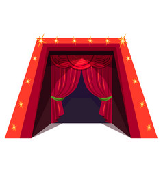 Circusus red curtains flat vector