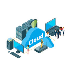 Cloud storage concept isometric data transfer vector