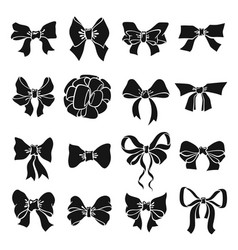collection holiday bow monochrome icon vector image