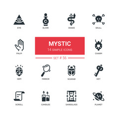 Culture theme mystic - line design icons set vector