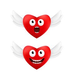 Cute flying hearts with funny facial emotions vector