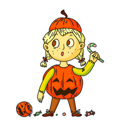 cute pumpkin kid isolated on white background vector image