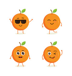 Cute set of orange fruit character vector