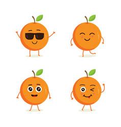 cute set orange fruit character vector image