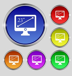 Diagonal of the monitor 23 inches icon sign Round vector