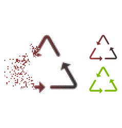 Dispersed pixel halftone recycling triangle icon vector