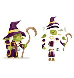 evil goblin mage sorcerer warlock wiseman minion vector image