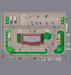 Fast food cafe restaurant and parking for cars vector