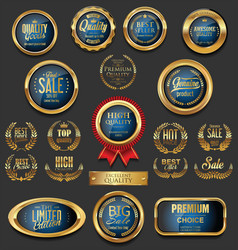 Golden badges and labels collection 7 vector