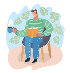 guy seated in armchair and reading a book holiday vector image