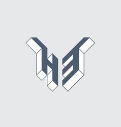 H and 3 - monogram or logotype h3 logo isometric vector