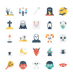 halloween colored icons 3 vector image