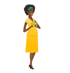 Happy african pregnant woman holding money vector