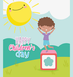 Happy childrens day little boy playing in block vector