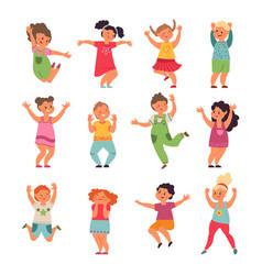happy kids cartoon children preschool jumping vector image