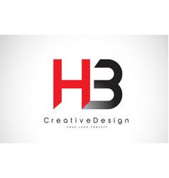 hb h b letter logo design in red and black vector image