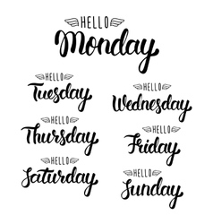 Hello monday Handwritten days of the week vector image