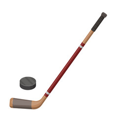 Hockey stick and washer canada single icon in vector