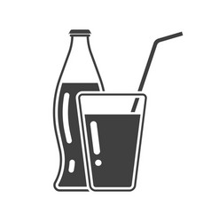 Icon bottle and glass soda with a tube in a new vector