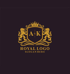 Initial ak letter lion royal luxury logo template vector