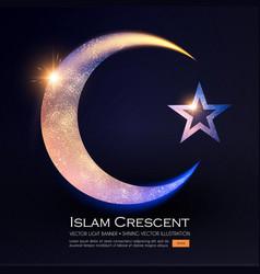 islamic crescent moon muslim religious sign vector image