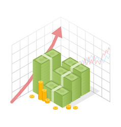 isometric icon money growth pile dollar and gold vector image