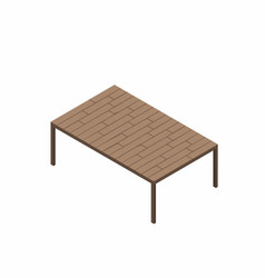 isometric wooden table isolated on white vector image