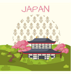 japan promotional poster with traditional house vector image