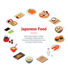 Japanese food concept banner card circle 3d vector