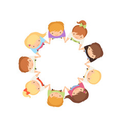 Kids dancing in circle holding hands cute little vector