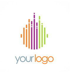 line round color technology logo vector image