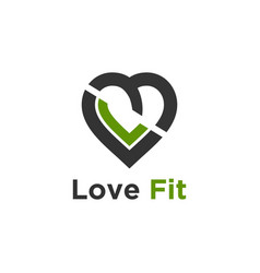 Love fit supplement logo design vector