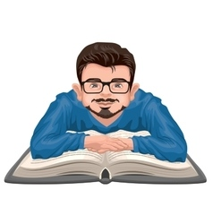 Man reading book Young man in glasses placed his vector